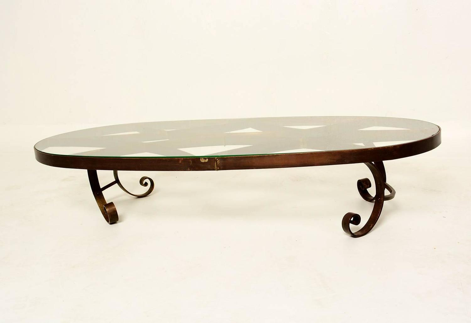 Mexican Modernist Oval Coffee Table In Brass For Sale At 1stdibs