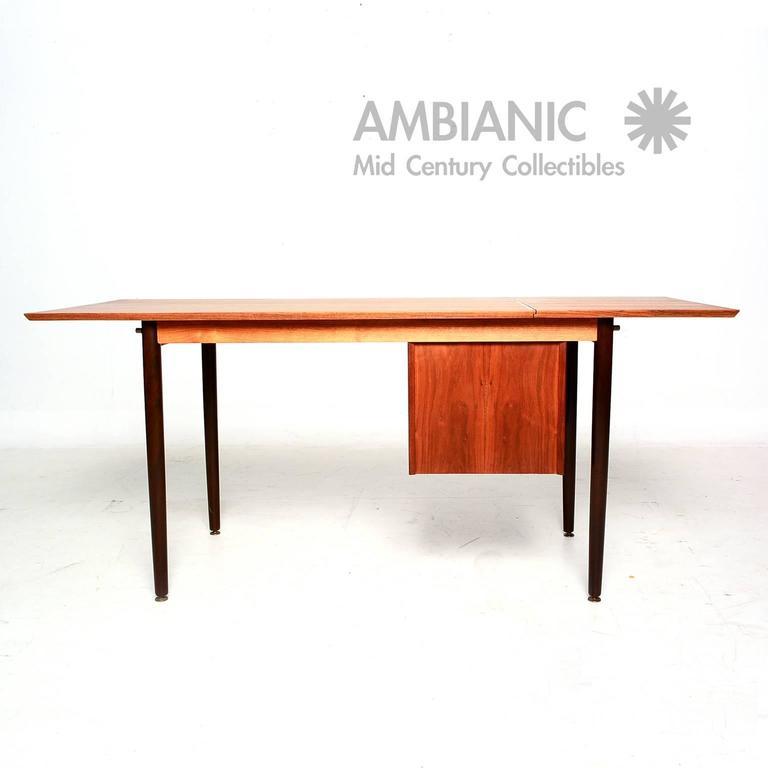 Scandinavian Modern Arne Vodder Danish Teak Desk With Sliding Top For