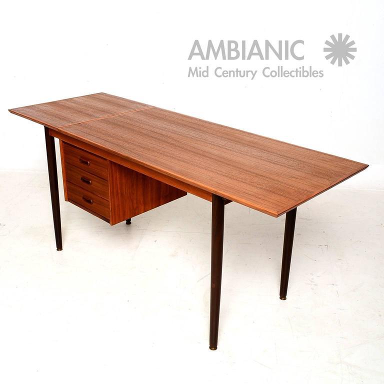 Arne Vodder Danish Modern Teak Desk With Sliding Top At