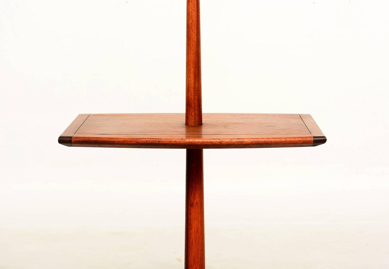mid century modern sculptural walnut floor lamp with built. Black Bedroom Furniture Sets. Home Design Ideas