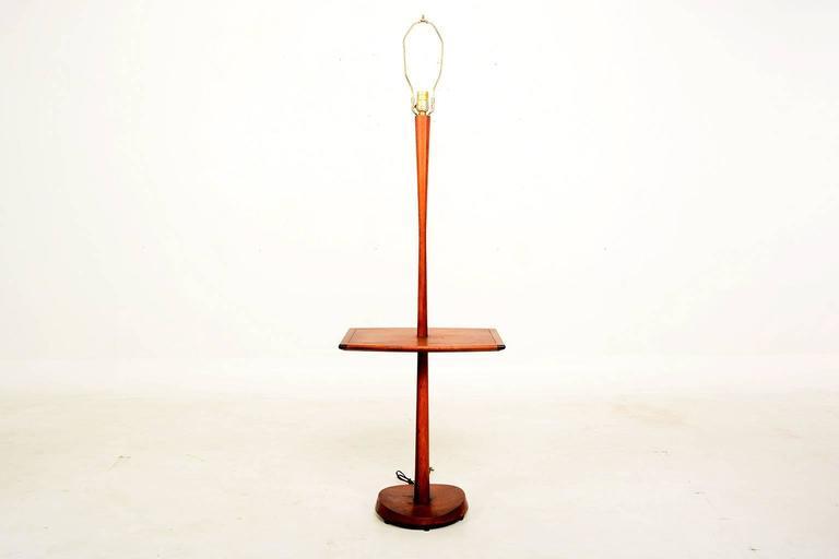 mid century modern sculptural walnut floor lamp with built. Black Bedroom Furniture Sets. Home Design Ideas