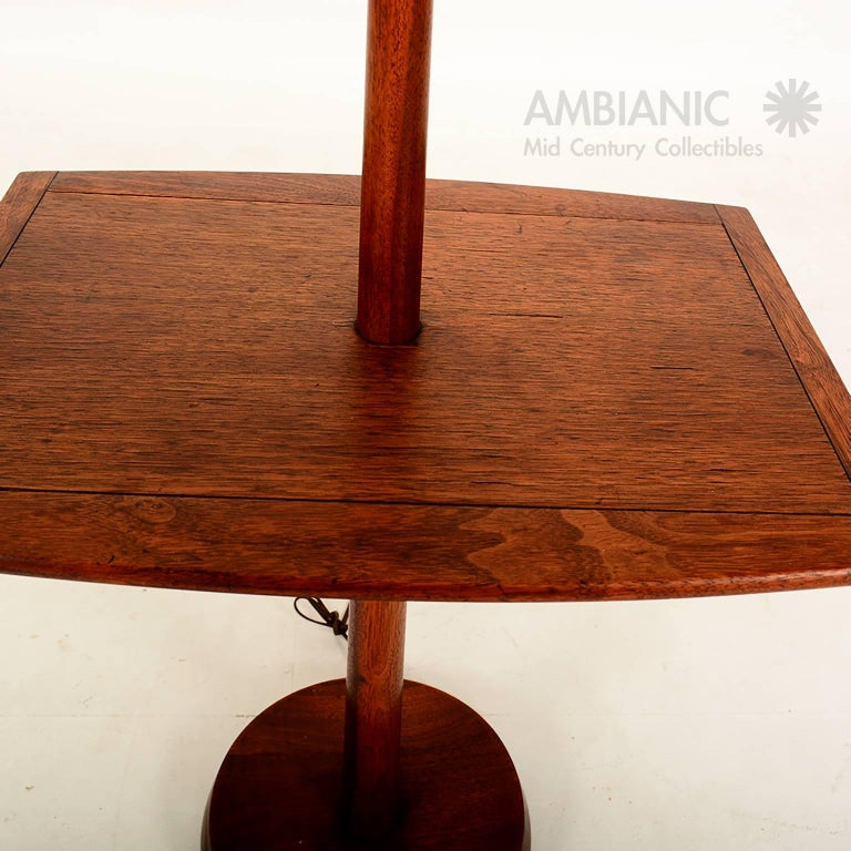 Mid Century Modern Sculptural Walnut Floor Lamp With Built In Table At 1stdibs