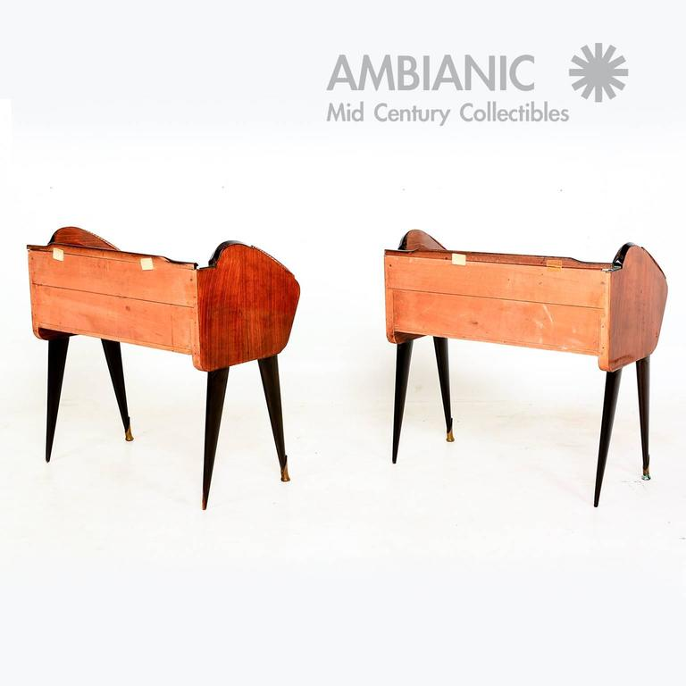 Mid Century Modern Pair Of Rosewood Nightstands Bed Side Tables Made In Italy For Sale At 1stdibs