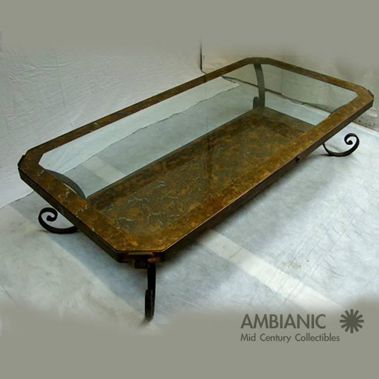Art Glass Mid Century Mexican Modernism Brass Coffee Table after Arturo Pani For Sale