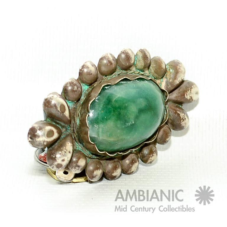 Rare William Spratling Brooch Sterling Silver with Mexican Cabochon Jade In Good Condition For Sale In National City, CA