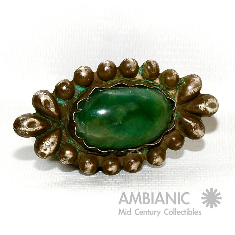 Mid-20th Century Rare William Spratling Brooch Sterling Silver with Mexican Cabochon Jade For Sale