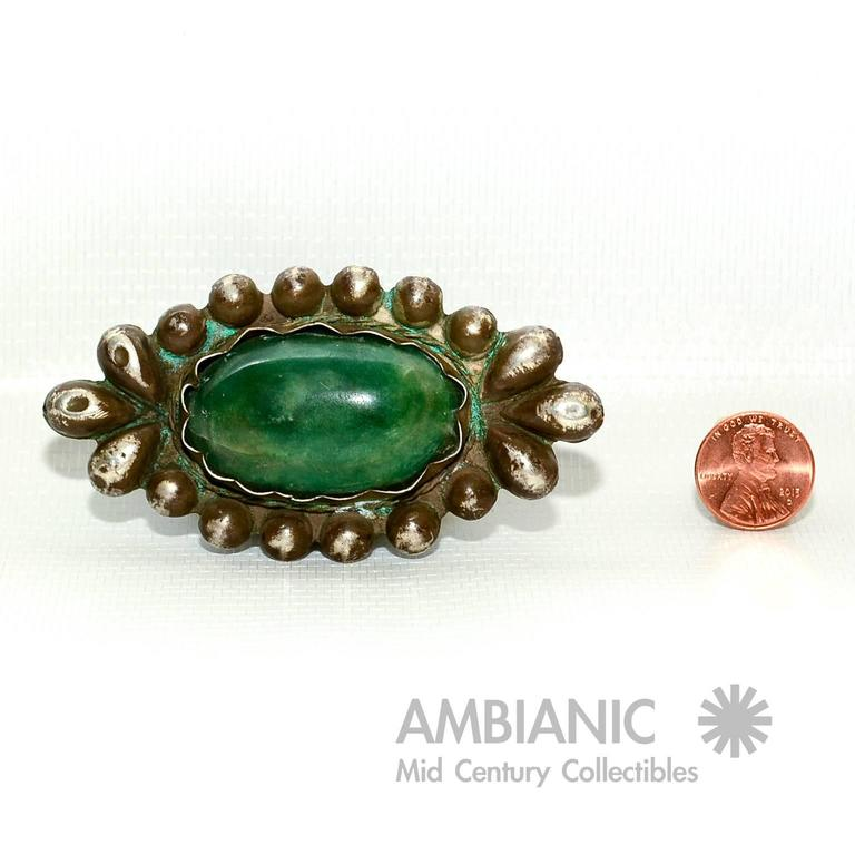 Rare William Spratling Brooch Sterling Silver with Mexican Cabochon Jade For Sale 1