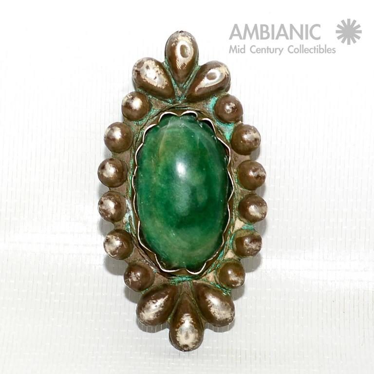 Rare William Spratling Brooch Sterling Silver with Mexican Cabochon Jade For Sale 2