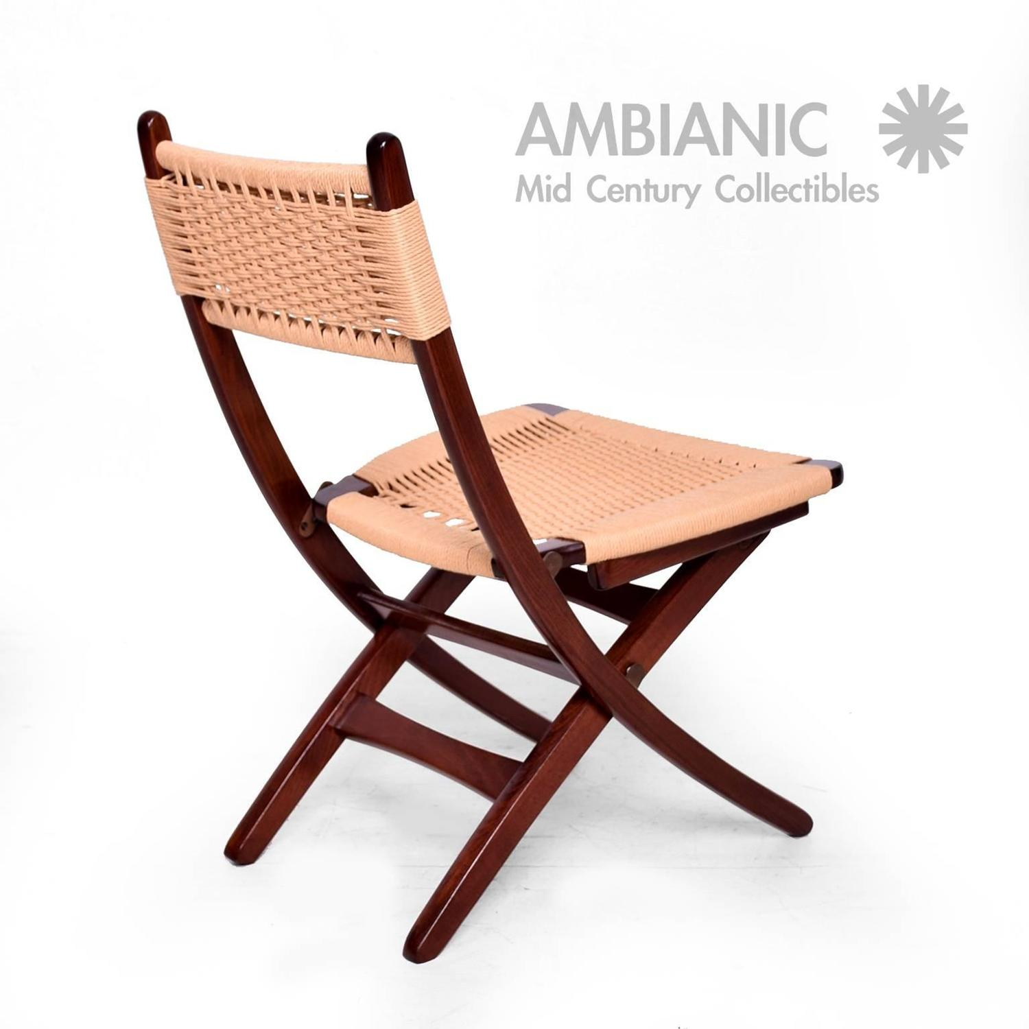 Mid Century Danish Modern Rope Folding Chairs Wegner Style For Sale at 1stdibs