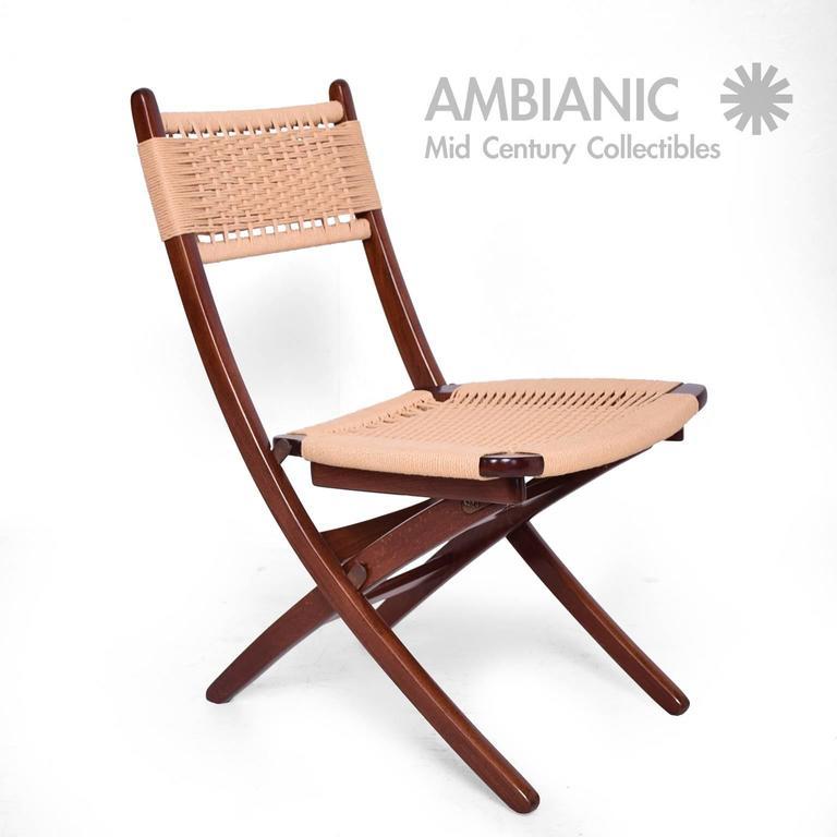 Gentil Mid Century Danish Modern Rope Folding Chairs Wegner Style For Sale 3