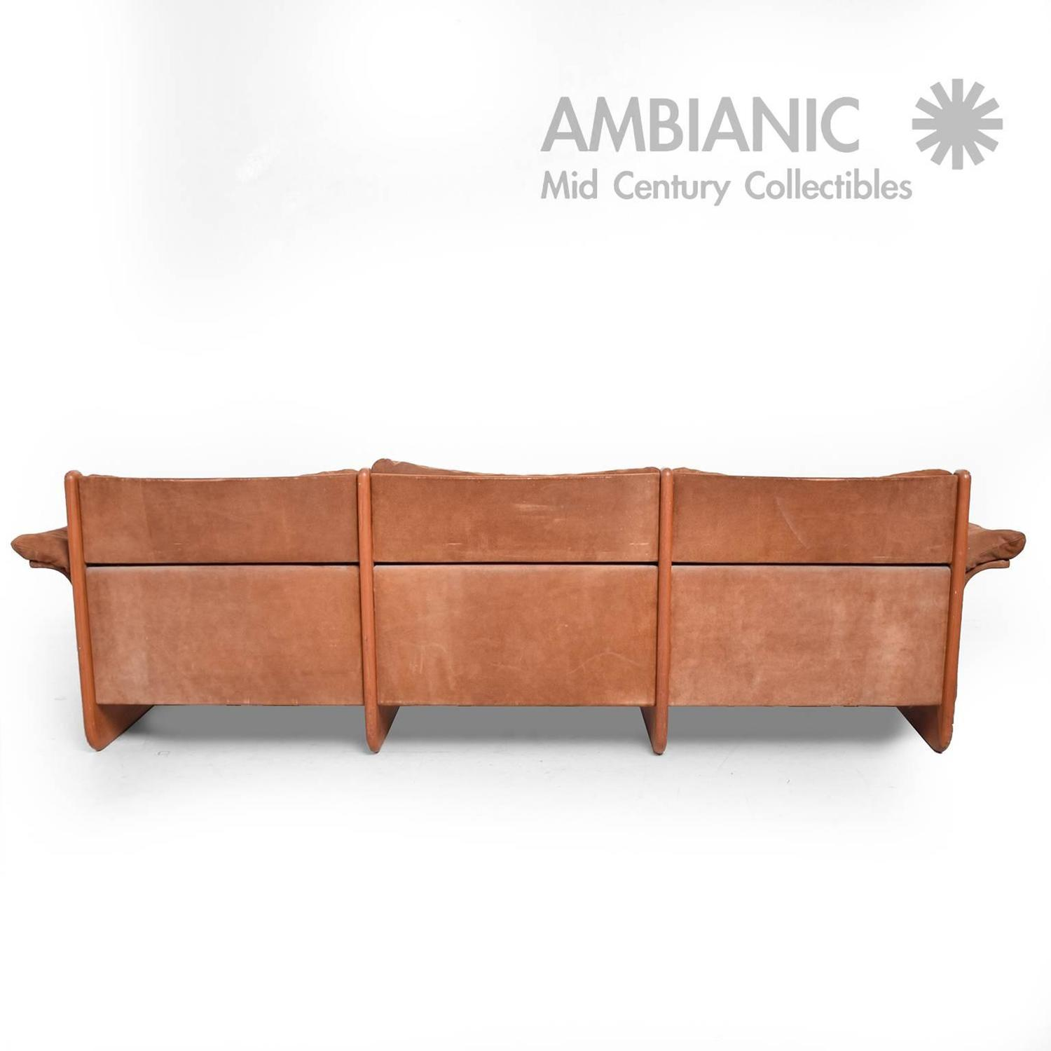 Danish modern suede and teak sofa jeki mobler ebbe gehl for Suede furniture