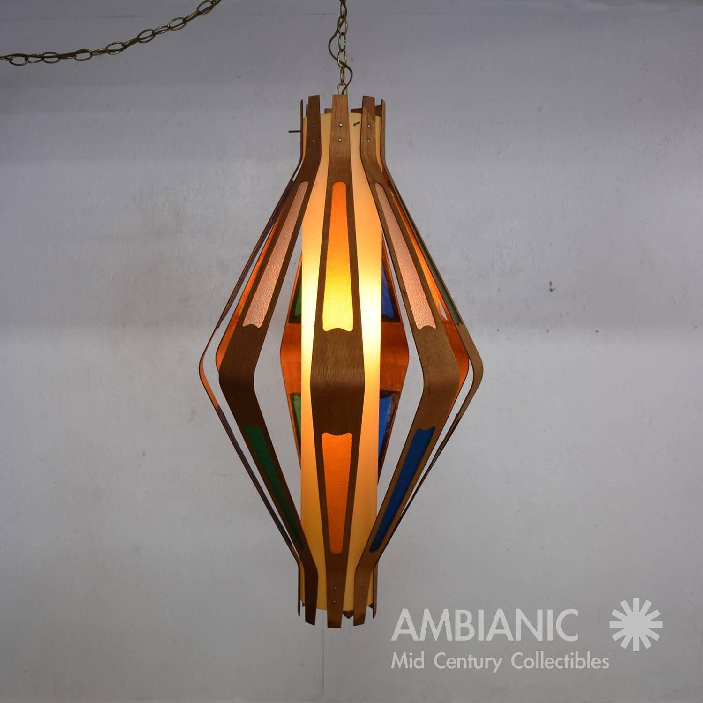 mid century modern hanging lamp teak and color plastic for sale at. Black Bedroom Furniture Sets. Home Design Ideas