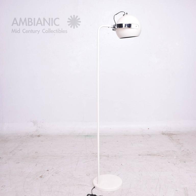 Painted Robert Sonneman White and Chrome Floor Lamp For Sale