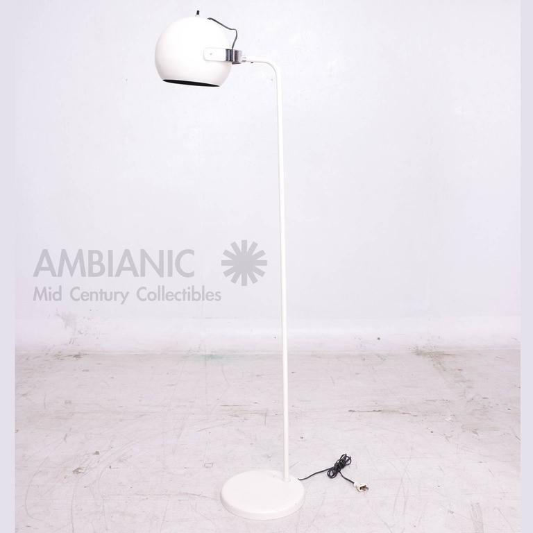 Mid-20th Century Robert Sonneman White and Chrome Floor Lamp For Sale