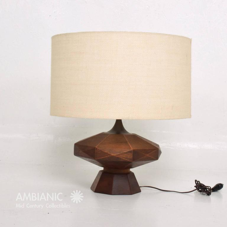 Mexican Modernist Mahogany Table Lamp 3