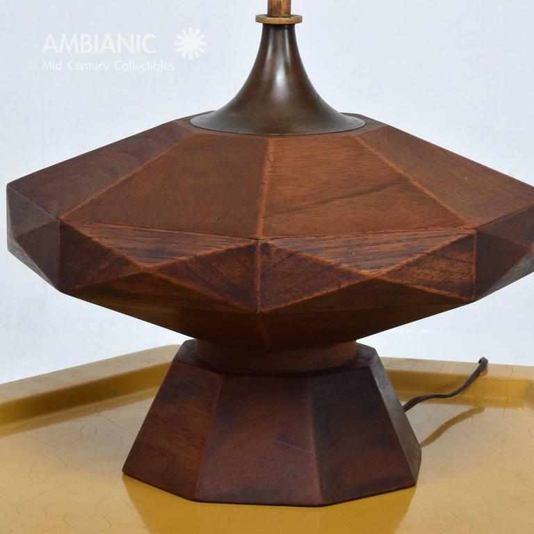 Mexican Modernist Mahogany Table Lamp 4