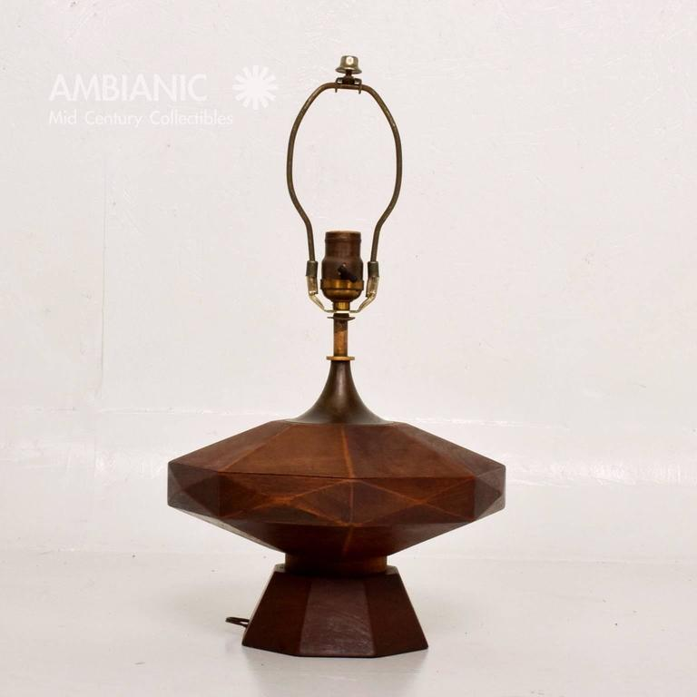 Mexican Modernist Mahogany Table Lamp 6