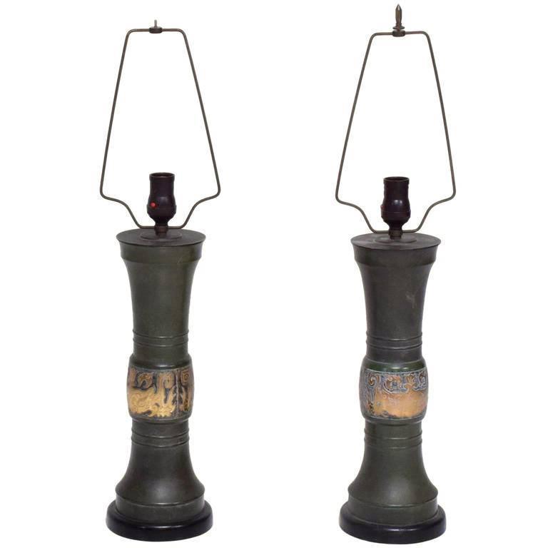 Dark Verdigris Green Ornate Pedestal Light: Pair Of Oriental Hollywood Regency Table Lamps At 1stdibs