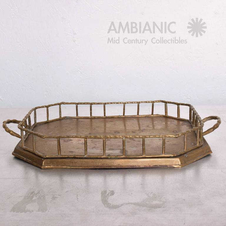 Hollywood Regency Brass Service Tray 4