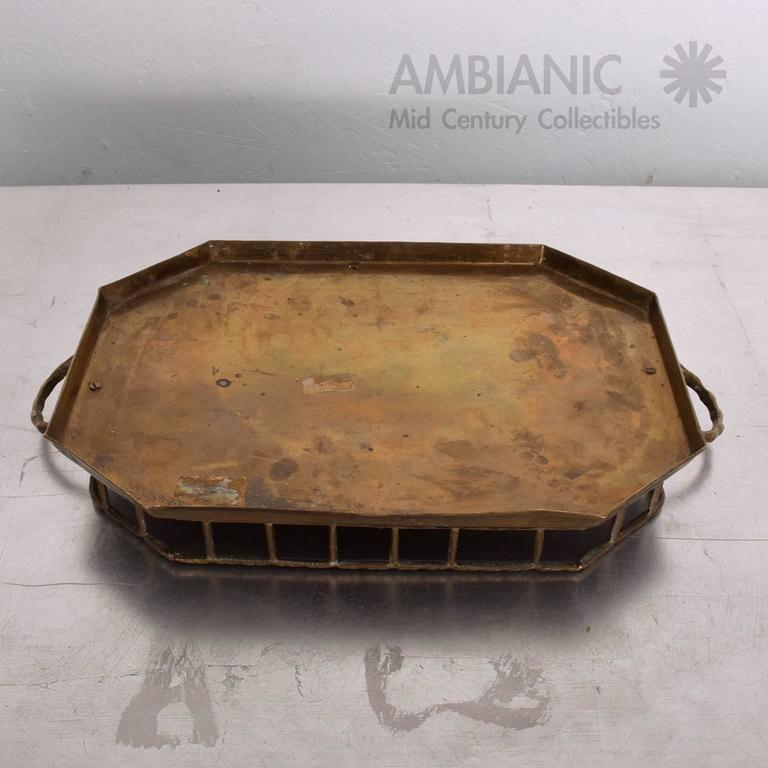 Hollywood Regency Brass Service Tray 6