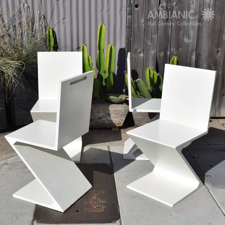 Set of Four Zig Zag Chairs in White Color 10