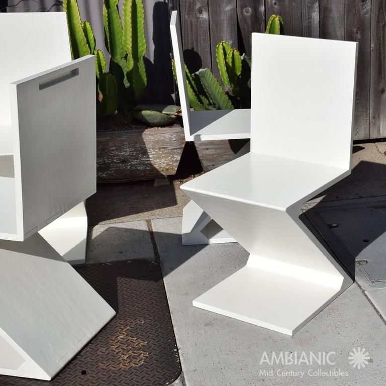 Set of Four Zig Zag Chairs in White Color 9