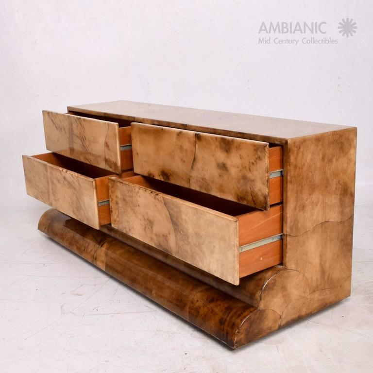 Mid-20th Century Goatskin Parchment Dresser, Credenza Mid-Century Period after Aldo Tura For Sale