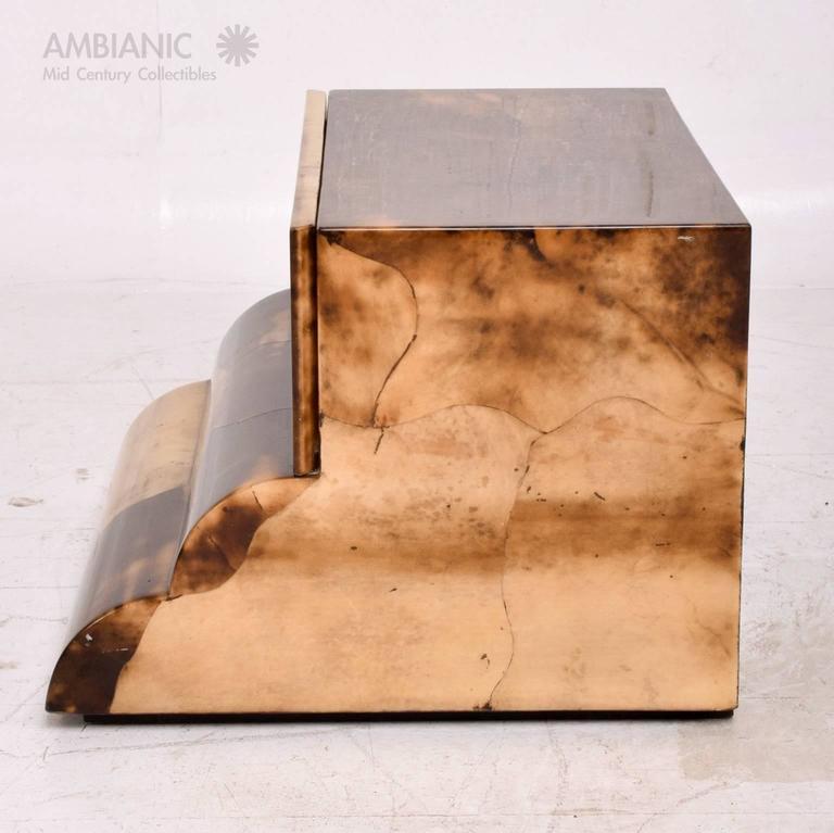 European Goatskin Bed Side Table For Sale