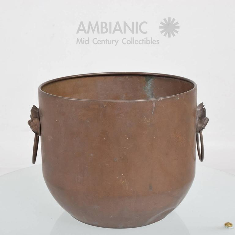 Unknown Hollywood Regency Brass Planter Bowl For Sale