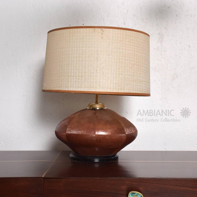 Late 20th Century Mid-Century Modern Table Lamp in Copper and Brass For Sale