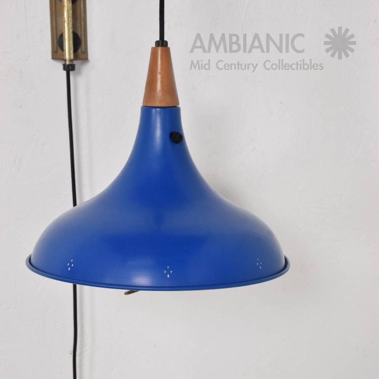 Mid Century Modern Wall Sconce With Blue Oversize Shade For Sale At