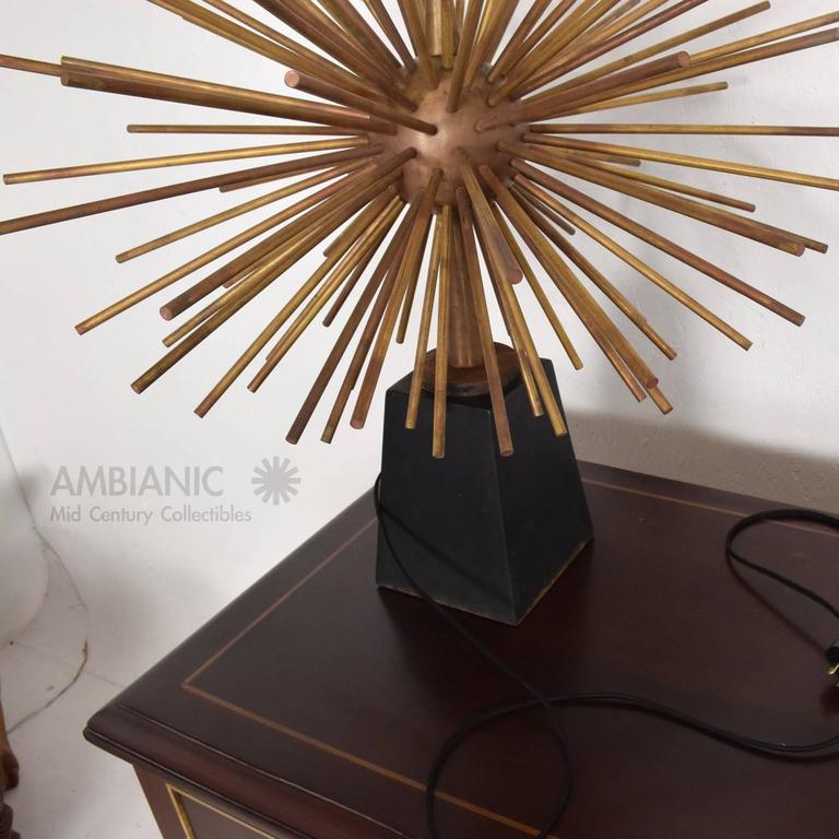 Mexican Modernist Bronze Starburst Table Lamps Attributed to Arturo Pani Sputnik In Good Condition For Sale In National City, CA