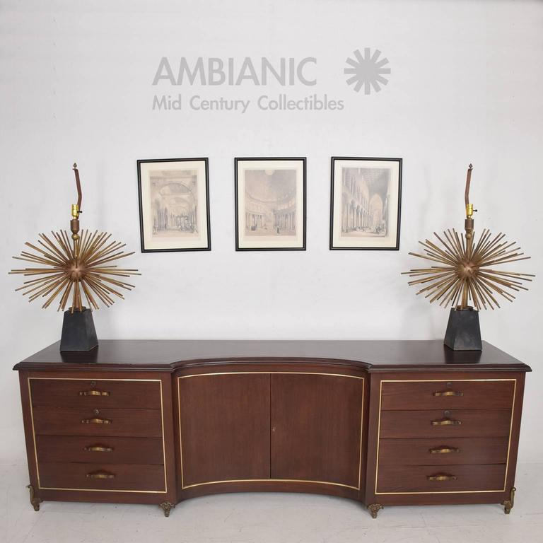 Mid-20th Century Mexican Modernist Bronze Starburst Table Lamps Attributed to Arturo Pani Sputnik For Sale