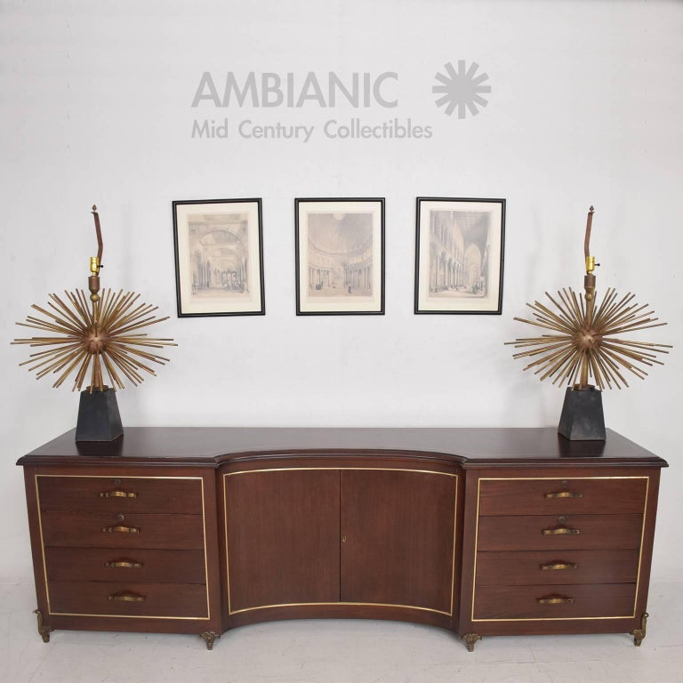 Mexican Modernist Bronze Starburst Table Lamps Attributed to Arturo Pani 4