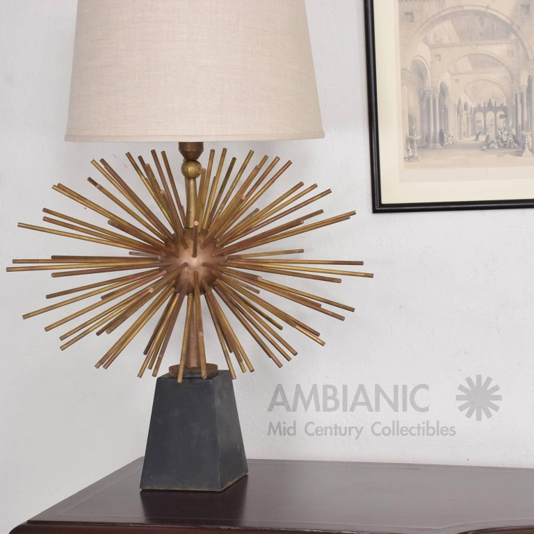 Mexican Modernist Bronze Starburst Table Lamps Attributed to Arturo Pani 5