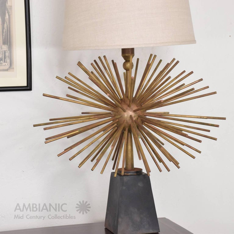 Mexican Modernist Bronze Starburst Table Lamps Attributed to Arturo Pani 6