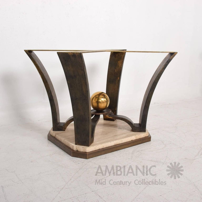 Mexican Modernist Oval Dinning Table Base Bronze and Travertine For Sale 1