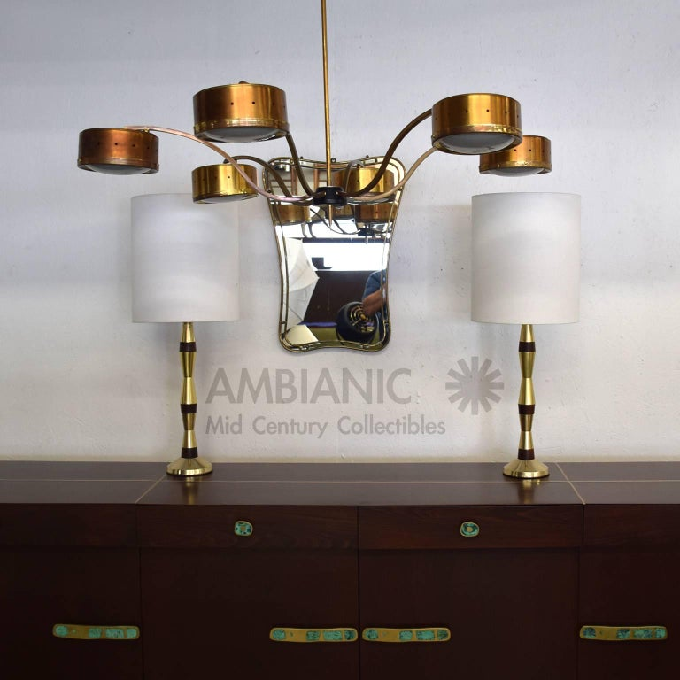 Mid-Century Modern Table Lamps in Brass and Walnut Wood 8