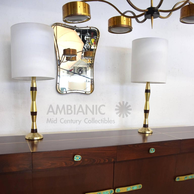 Mid-Century Modern Table Lamps in Brass and Walnut Wood 9