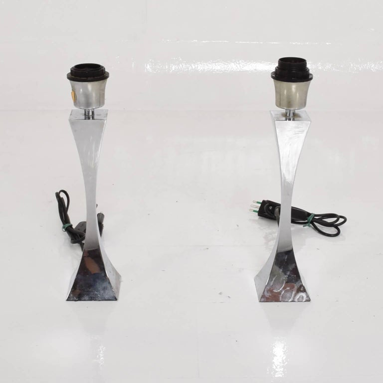 Pair of Italian Chrome Table Lamps by Tonello & Montagna Grillo, Midcentury Era In Excellent Condition For Sale In National City, CA