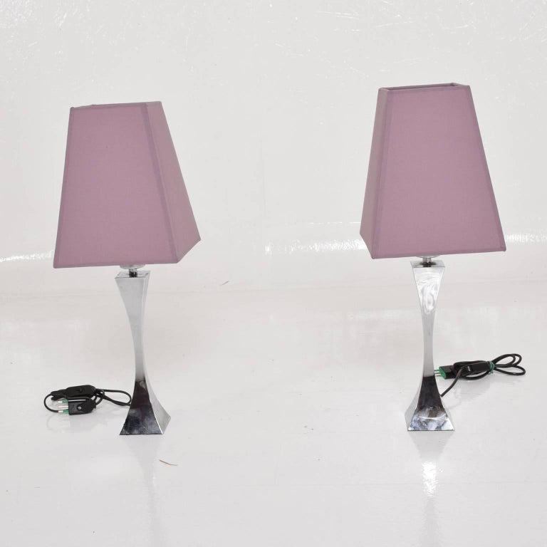 Mid-Century Modern Pair of Italian Chrome Table Lamps by Tonello & Montagna Grillo, Midcentury Era For Sale