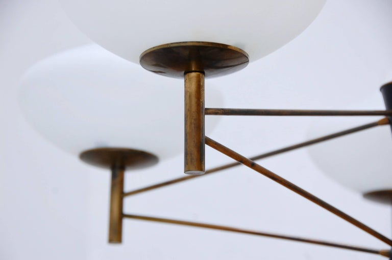 Five Shade Modernist Italian Chandelier At 1stdibs