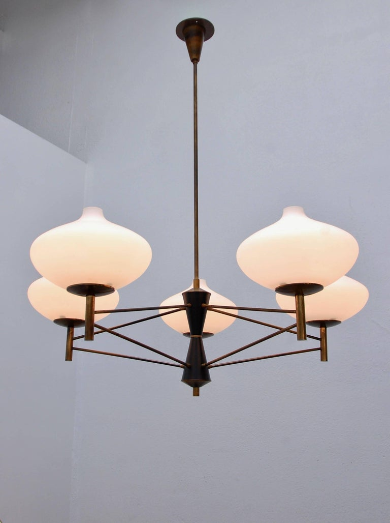 Five Shade Modernist Italian Chandelier At 1stdibs