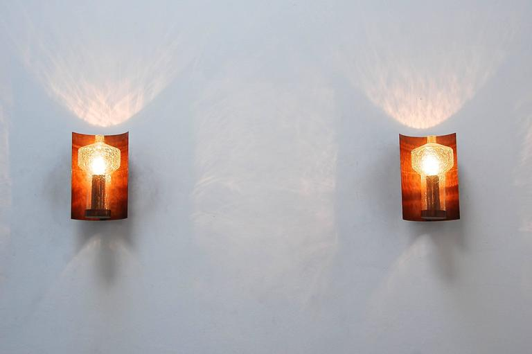 Blown Glass Six Kaiser Leuchten Sconces from Germany For Sale