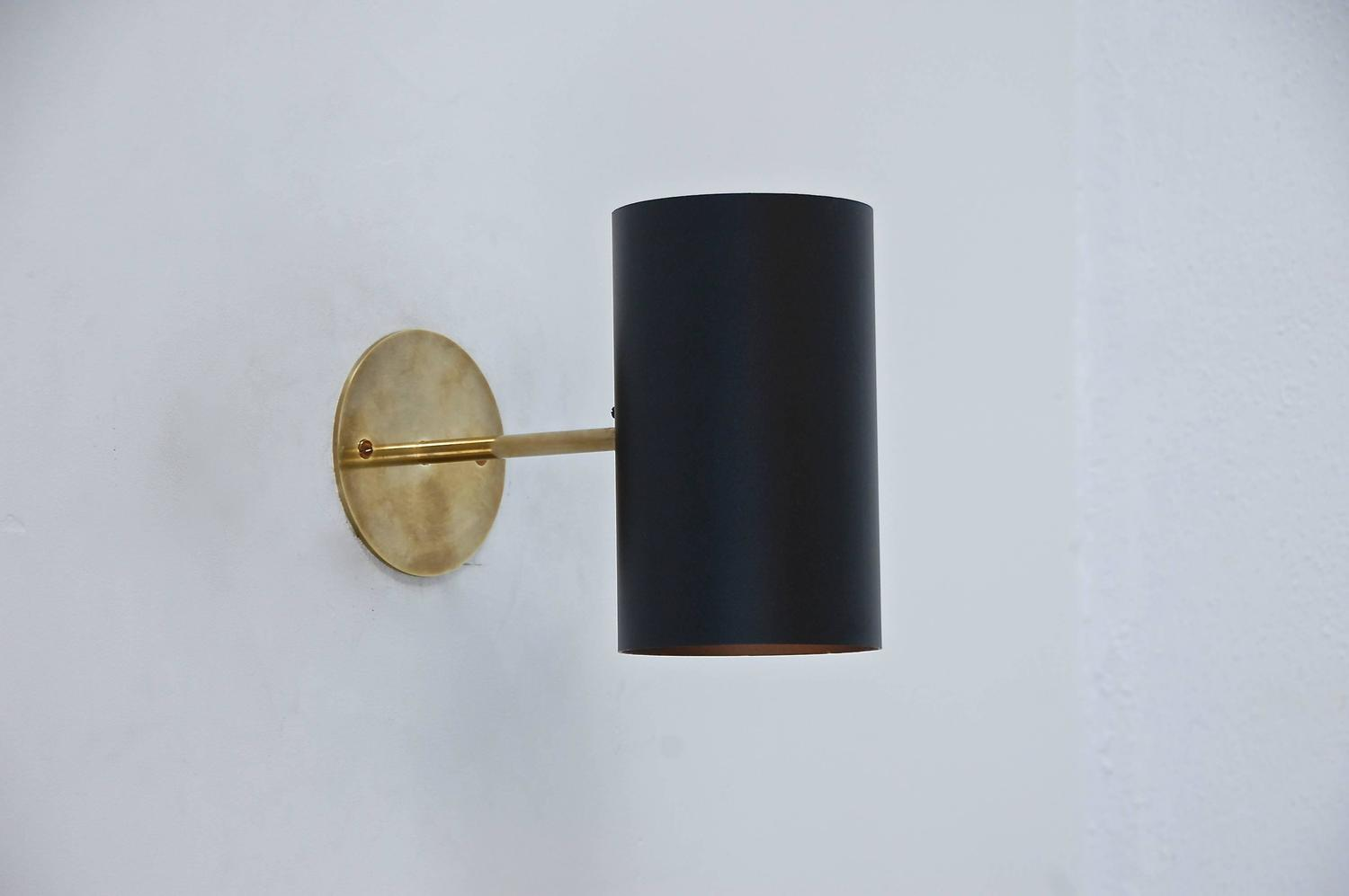 Boris lacroix black cylinder sconces at 1stdibs - Cylindrical wall sconce ...