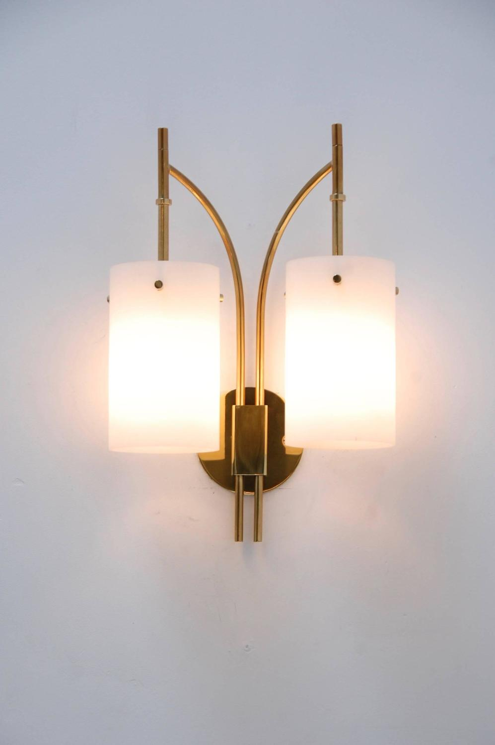 Double Wall Sconce With Shades : 1950s Italian Double Shade Cylinder Sconce For Sale at 1stdibs