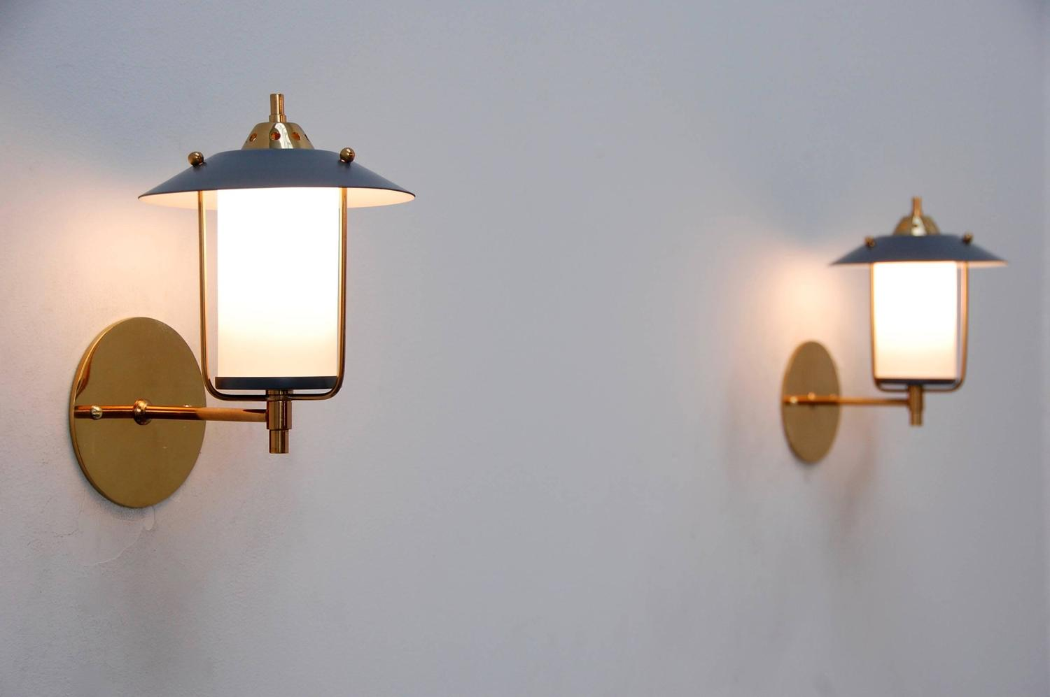 Mid Century Outdoor Wall Sconces : Petite Italian Mid-Century Indoor Outdoor Sconces at 1stdibs