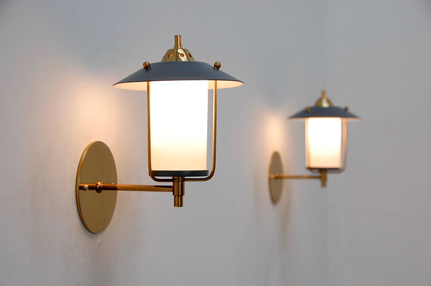 Mid Century Modern Outdoor Wall Lights : Petite Italian Mid-Century Indoor Outdoor Sconces at 1stdibs
