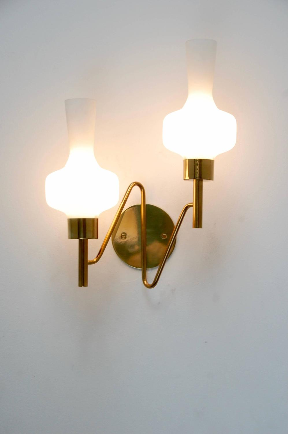 Double Wall Sconce With Shades : Classic Italian Double Shade Sconce For Sale at 1stdibs