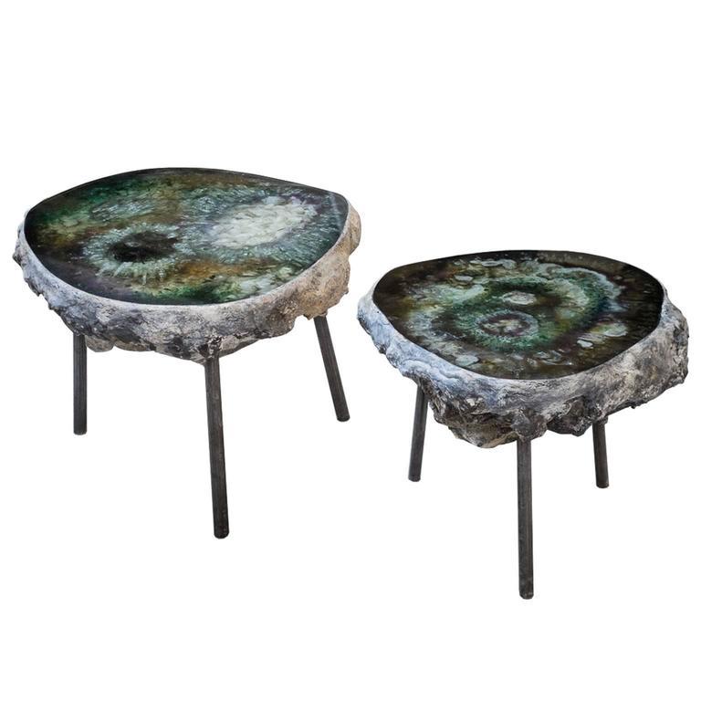 "Pair of Sidetables ""Bonbooom"" designed by Von Pelt Atelier For Sale"